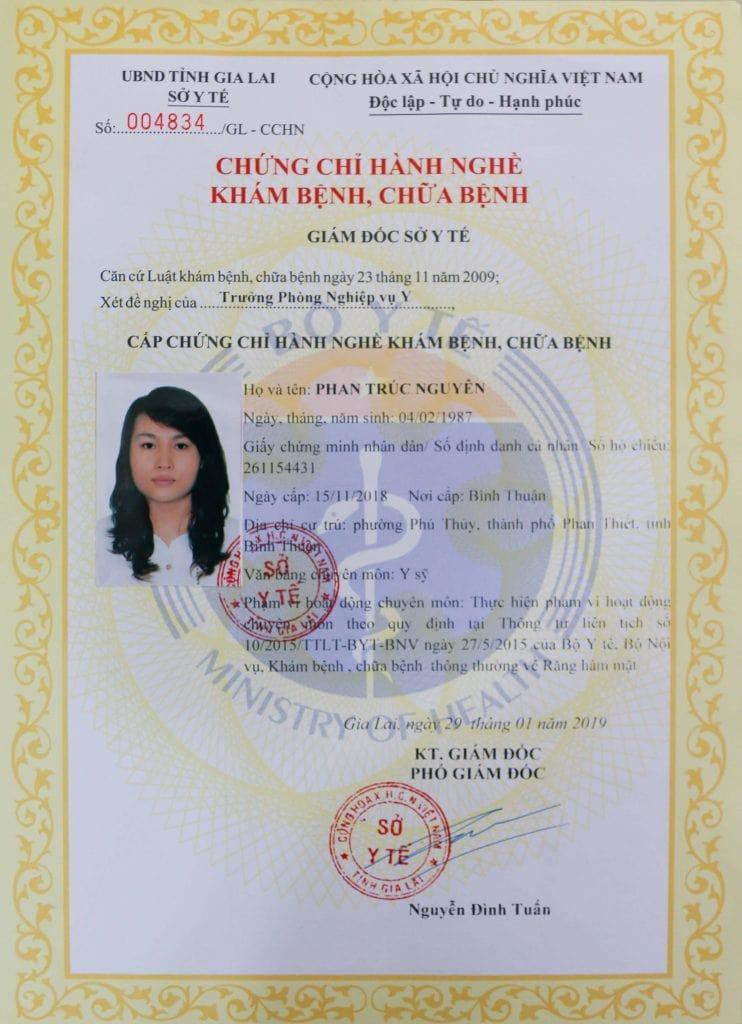 chứng chỉ hành nghề bác sĩ Phan Trúc Nguyên