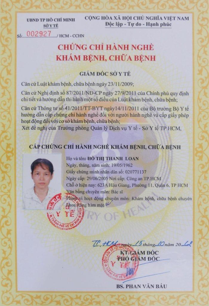 chứng chỉ hành nghề bác sĩ Hồ Thị Thanh Loan