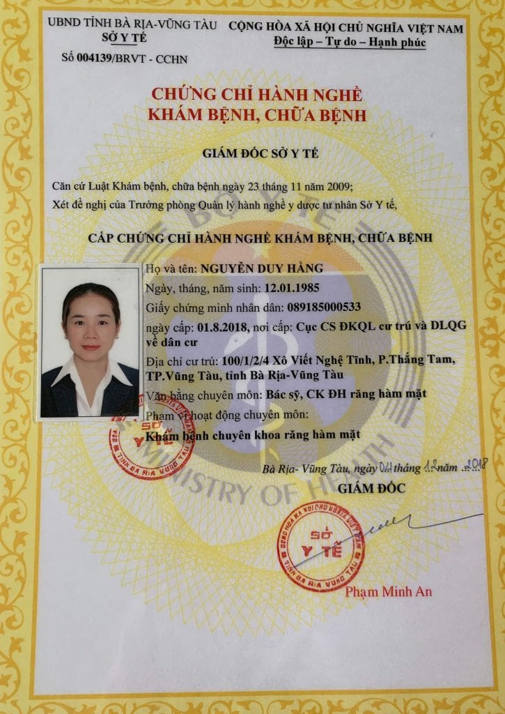 chứng chỉ hành nghề bác sĩ Nguyễn Duy Hằng