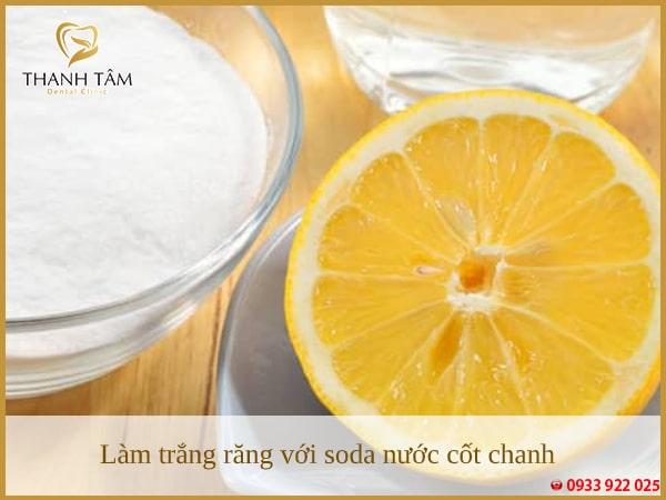 Sử dụng soda nước cốt chanh làm trắng răng nhanh chóng