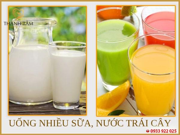 Sử dụng nhiều sữa, nước trái cây