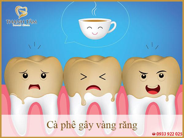 cà phê gây vàng răng
