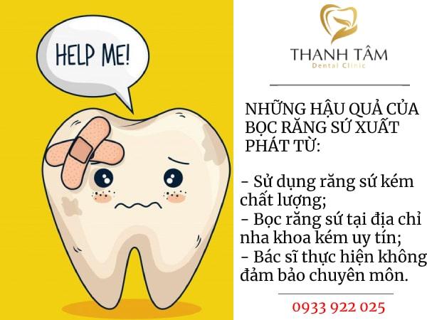 hậu quả của việc bọc răng sứ
