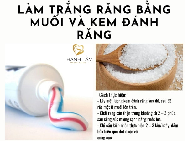 Sử dụng muối và kem đánh răng