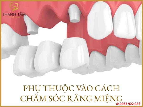 Phụ thuộc vào cách chăm sóc răng miệng