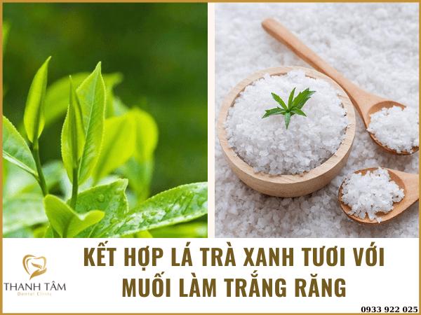 Kết hợp lá trà xanh và muối