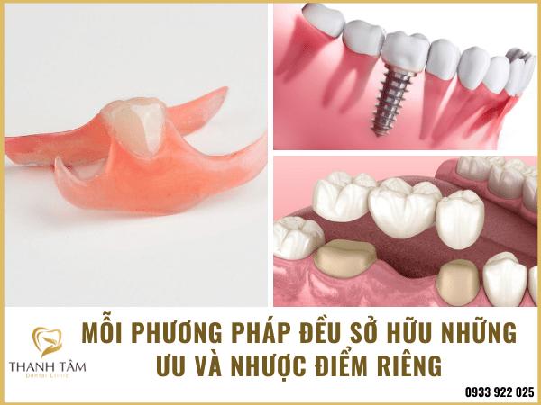 các phương pháp phục hình khuyết điểm mất răng